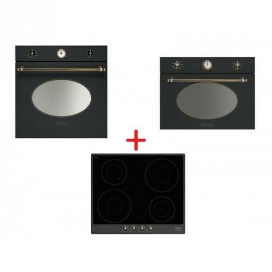 SM41: Smeg SF800AO sütő, antracit / sárgaréz + Smeg SPR864AGH gáz főzőlap, antracit / sárgaréz + SF4800MAO mikró antracit