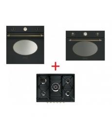 SM43: Smeg SF800AO sütő, antracit/vörösréz + Smeg SPR876AGH gáz főzőlap, antracit/sárgaréz + Smeg SF4800MAO mikró antracit