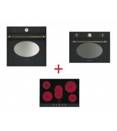 SM49: Smeg SF800AO sütő, antracit/sárgaréz + Smeg P875A üvegkerámia főzőlap, antracit/sárgaréz + Smeg SF4800MAO mikró antracit