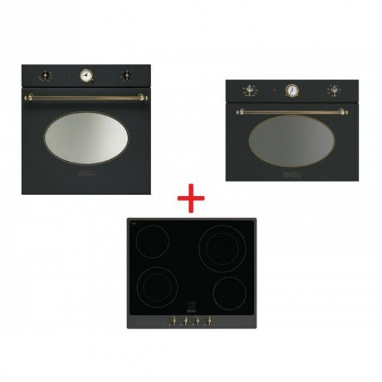 SM51: Smeg SF800AO sütő antracit/sárgaréz + Smeg P864A-9 üvegkerámia főzőlap, antracit/sárgaréz + Smeg SF4800MAO mikró antracit
