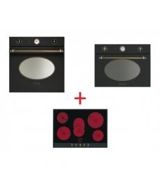 SM53: Smeg SFP805AO sütő, antracit/sárgaréz + Smeg P875A üvegkerámia főzőlap, antracit/sárgaréz + Smeg SF4800MAO mikró antracit