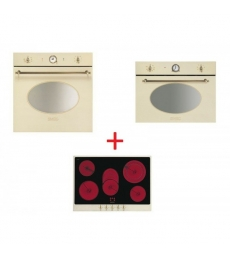 SM54: Smeg SFP805PO sütő, bézs/sárgaréz + Smeg P875P üvegkerámia főzőlap, bézssárgaréz + Smeg SF4800MPO mikró, bézs