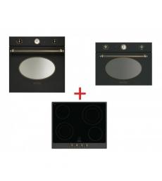 SM55: Smeg SFP805AO sütő antracit/sárgaréz + Smeg P864A-9 üvegkerámia főzőlap antracit/sárgaréz + Smeg SF4800MAO mikró antracit