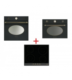 SM57: Smeg SFP800AO sütő, antracit/sárgaréz + Smeg PI764AO indukciós főzőlap, antracit/sárgaréz + Smeg SF4800MAO mikró antracit