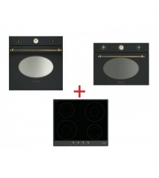 SM59: Smeg SFP805AO sütő, antracit/sárgaréz + Smeg PI764AO indukciós főzőlap, antracit/sárgaréz + Smeg SF4800MAO mikró antracit