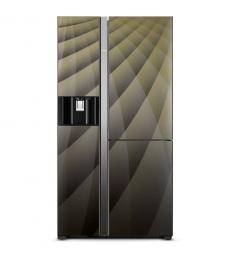 HITACHI Side-by-Side hűtőszekrény, 3 ajtós, 584l, onyx üveg